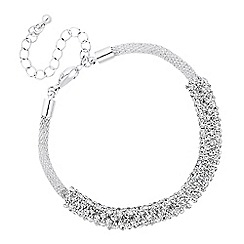 Jon Richard - Crystal embellished bar silver mesh bracelet