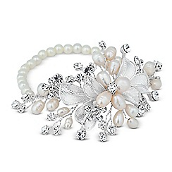 Alan Hannah Devoted - Designer pearl and crystal leaf hand wrap stretch bracelet
