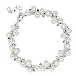Jon Richard - Statement pearl and crystal cluster bracelet