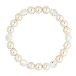 Jon Richard - Cream pearl and facet bead stretch bracelet