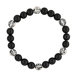 Jon Richard - Jet pearl and facet bead stretch bracelet