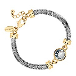 Jon Richard - Round crystal gold link and flat snake chain bracelet