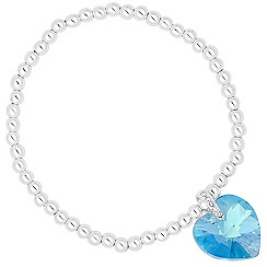 Jon Richard - Aquamarine crystal heart stretch bracelet MADE WITH SWAROVSKI ELEMENTS