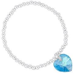 Jon Richard - Aquamarine crystal heart stretch bracelet MADE WITH SWAROVSKI ELEMENTS