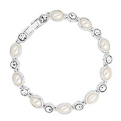 Jon Richard - Oval pearl and crystal tennis bracelet