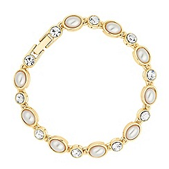 Jon Richard - Oval pearl and crystal gold tennis bracelet