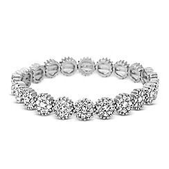 Jon Richard - Crystal embellished silver disc stretch bracelet