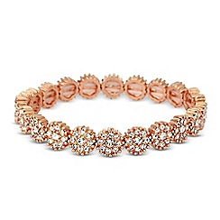 Jon Richard - Crystal embellished rose gold disc stretch bracelet
