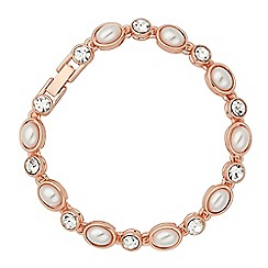 Jon Richard - Oval pearl and crystal rose gold tennis bracelet