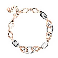 Jon Richard - Rose gold and silver crystal link bracelet