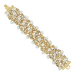 Jon Richard - Pearl and crystal cluster gold bracelet
