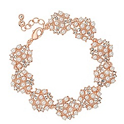 Jon Richard - Pearl and crystal rose gold bubble bracelet