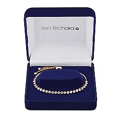 Jon Richard - Round gold cubic zirconia rose gold friendship bracelet