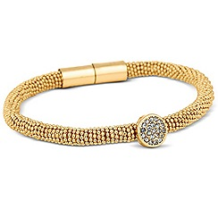 Jon Richard - Crystal disc and popcorn effect gold magnetic bracelet