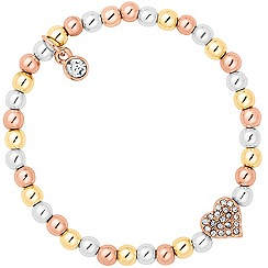 Jon Richard - Crystal heart charm mixed bead stretch bracelet