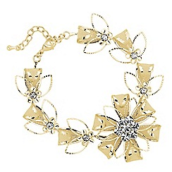 Jon Richard - Crystal and mesh gold flower bracelet
