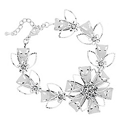 Jon Richard - Crystal and mesh silver flower bracelet