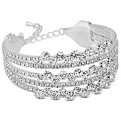 Jon Richard - Diamante crystal five row bubble silver cuff