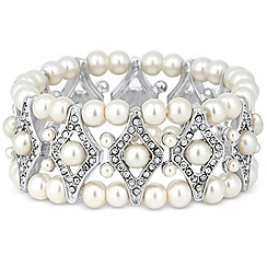 Jon Richard - Pearl and crystal diamond link stretch bracelet
