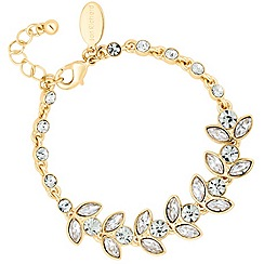 Jon Richard - Round and navette crystal gold link bracelet
