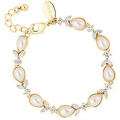 Alan Hannah Devoted - Designer cubic zirconia and pearl gold link bracelet