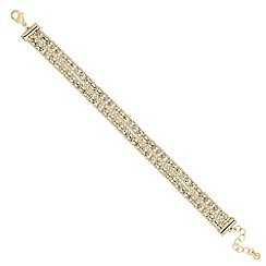 Jon Richard - Diamante crystal gold bead double row bracelet