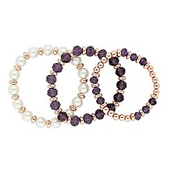 Jon Richard - Set of three purple bead and pearl stretch bracelets