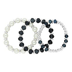 Jon Richard - Set of three blue bead and pearl stretch bracelets