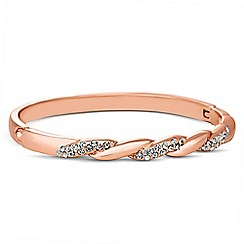 Jon Richard - Polished rose gold crystal twist bangle