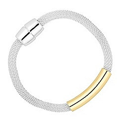 Jon Richard - Two tone gold bar mesh magnetic bracelet