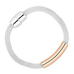 Jon Richard - Two tone rose gold bar mesh magnetic bracelet