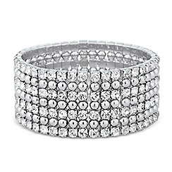 Jon Richard - Wide statement diamante and silver bead bracelet