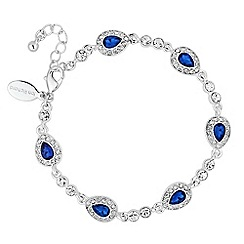 Alan Hannah Devoted - Designer blue crystal surround peardrop bracelet