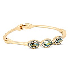 Jon Richard - Iridescent green crystal navette gold bangle MADE WITH SWAROVSKI ELEMENTS