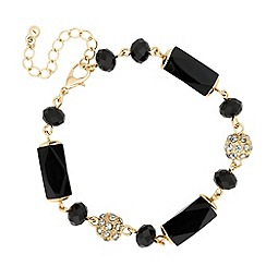 Jon Richard - Jet bead and crystal gold ball bracelet