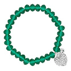 Jon Richard - Green glass bead and heart charm stretch bracelet