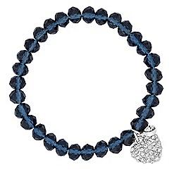 Jon Richard - Blue glass bead and heart charm stretch bracelet