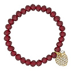 Jon Richard - Red glass bead and heart charm stretch bracelet