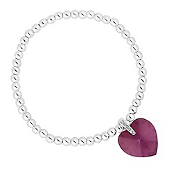 Jon Richard - Lilac shadow crystal heart drop stretch bracelet MADE WITH SWAROVSKI ELEMENTS