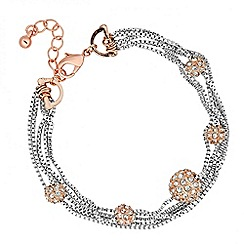 Jon Richard - Rose gold crystal ball multi row bracelet