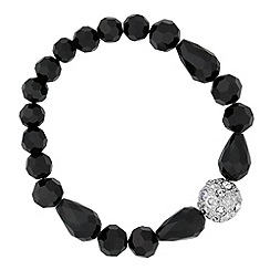 Jon Richard - Jet mixed bead and crystal ball stretch bracelet