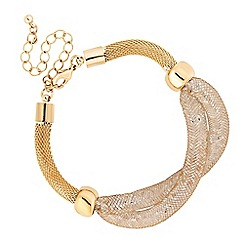 Jon Richard - Gold crystal mesh plait bracelet