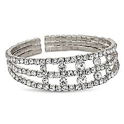 Jon Richard - Diamante crystal triple row cuff bracelet