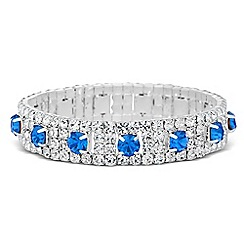 Jon Richard - Blue crystal set diamante surround stretch bracelet