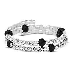 Jon Richard - Diamante & faceted jet bead coil bracelet