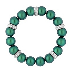 Jon Richard - Green pearl and crystal embellished disc stretch bracelet
