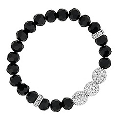 Jon Richard - Triple crystal ball and jet bead stretch bracelet