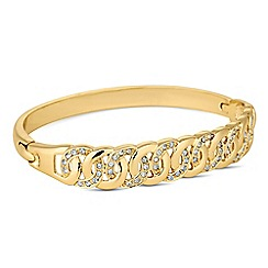 Jon Richard - Circular crystal stone encased gold bangle