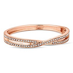 Jon Richard - Crystal embellished rose gold cross over bangle