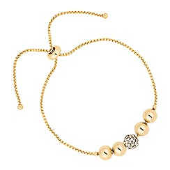 Jon Richard - Polished and crystal ball gold toggle bracelet